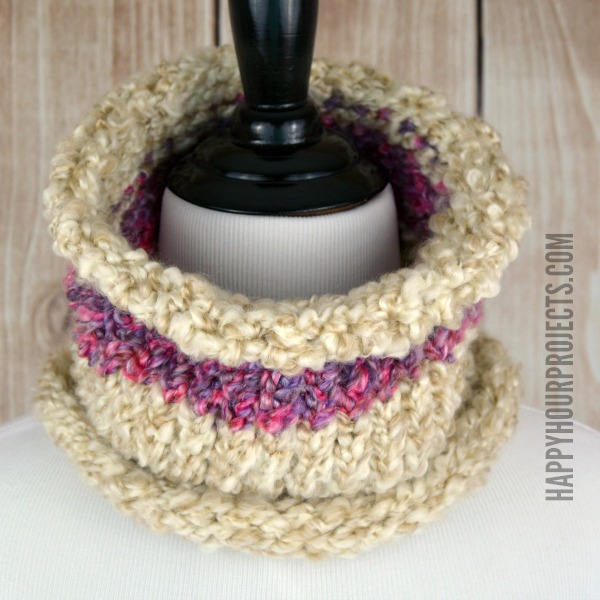 Easy Loom Knit Striped Cowl Happy Hour Projects