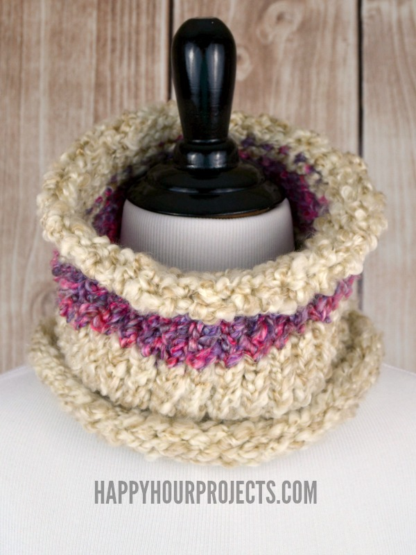 Easy Loom Knit Striped Cowl at www.happyhourprojects.com