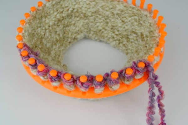 Easy Striped Loom Knit Cowl at www.happyhourprojects.com