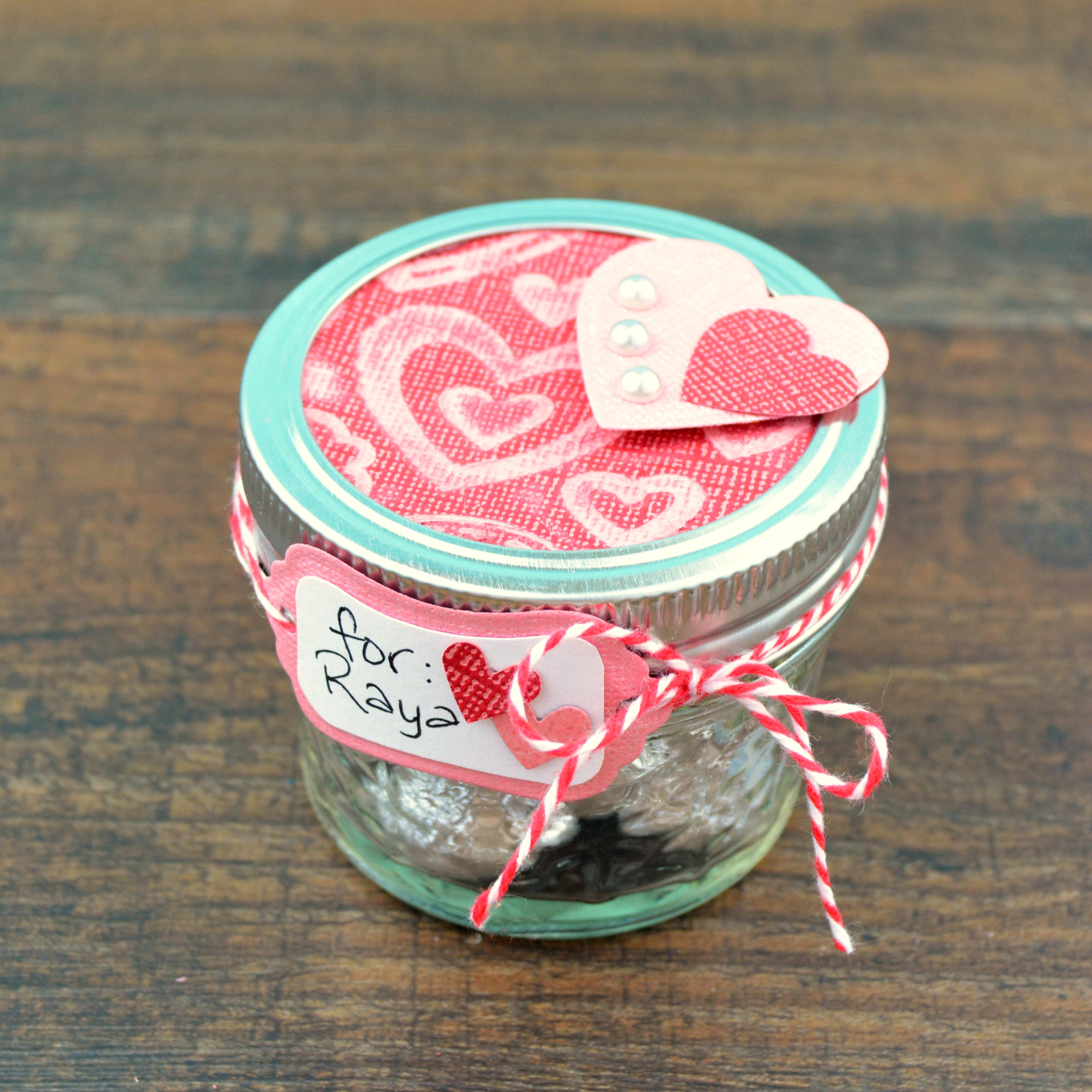 Valentine Gift in a Mason Jar at www.happyhourprojects.com
