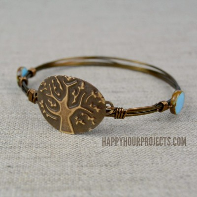 Embossed Tree Wire Wrapped Bangle at www.happyhourprojects.com