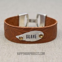 Embossed and Stamped Leather Bracelet