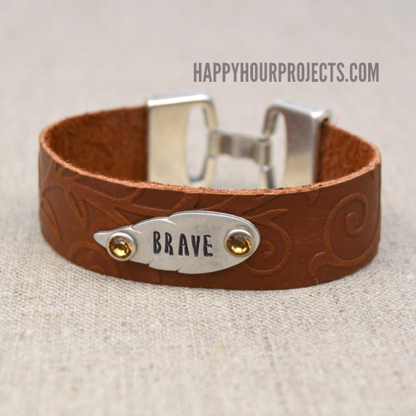 Embossed and Stamped Leather Bracelet at www.happyhourprojects.com