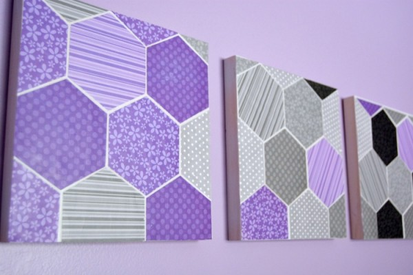 Hexagon Geometric Wall Art at www.happyhourprojects.com
