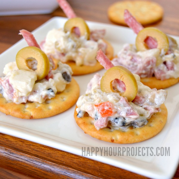New Orleans Inspired Muffuletta Dip at www.happyhourprojects.com