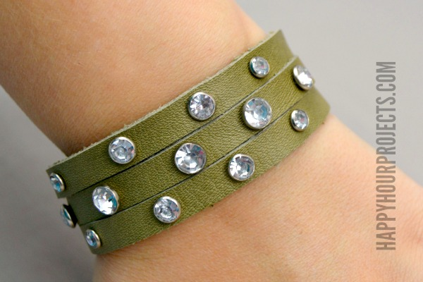 Riveted Leather Bracelet at www.happyhourprojects.com