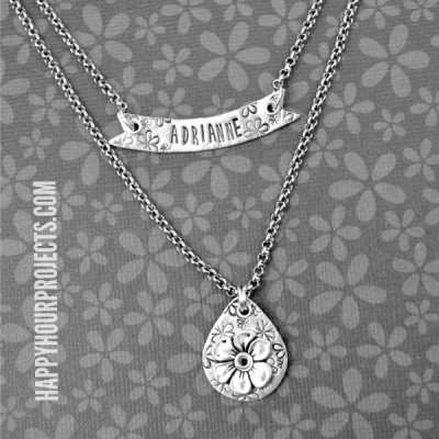 Stamped and Riveted Floral Layered Necklace