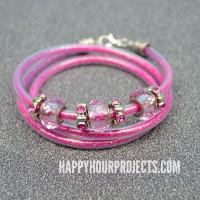 Beaded Glitter Wrap Bracelet Using Plastic Tubing at www.happyhourprojects.com