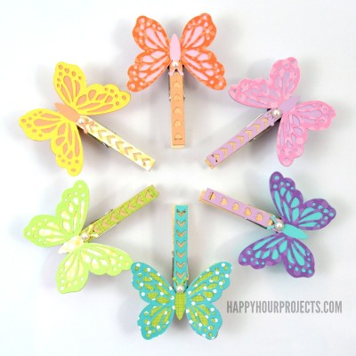 Butterfly Clothespin Magnets at www.happyhourprojects.com