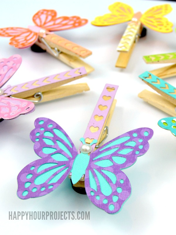 Butterfly clothespin magnets happy hour projects for Things you can make with paper clips