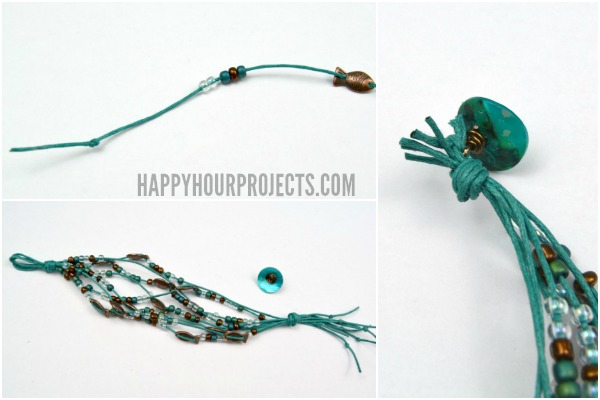 Beaded Copper Fish Bracelet at www.happyhourprojects.com