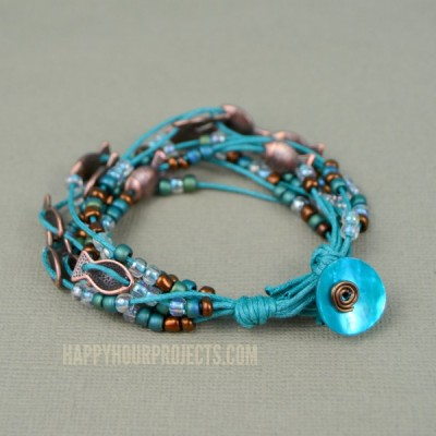 Beaded Copper Fish Bracelet