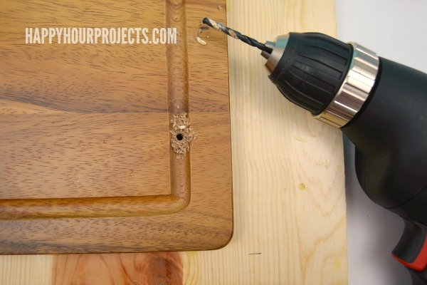 Make a DIY Serving Tray from a Cutting Board in just 10 Minutes at www.happyhourprojects.com