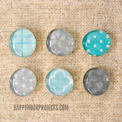 Glass Pebble Scrap Magnets at www.happyhourprojects.com