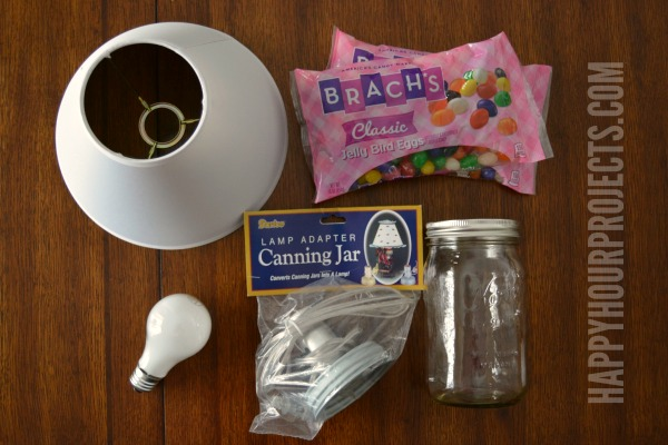 2-Minute Mason Jar Jellybean Lamp - Easy Easter Craft at www.happyhourprojects.com