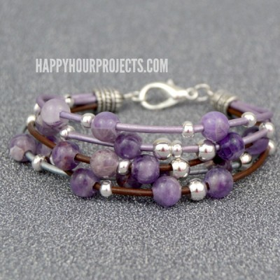 Layered Leather Beaded Bracelet at www.happyhourprojects.com