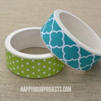 Scrapbook Paper Wood Bangle Bracelets at www.happyhourprojects.com