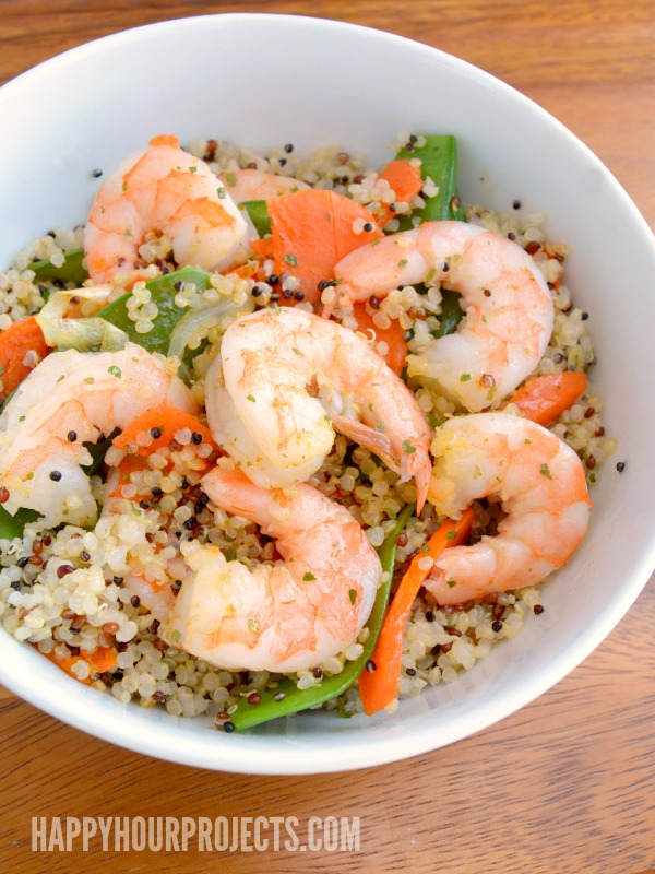 Quick and Easy Shrimp & Quinoa at www.happyhourprojects.com | Gluten-Free and Ready in 20 Minutes