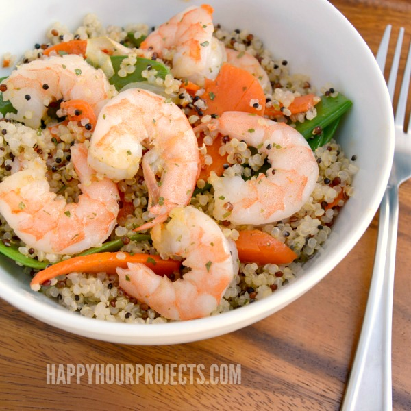 Quick and Easy Shrimp & Quinoa at www.happyhourprojects.com   Gluten-Free and Ready in 20 Minutes