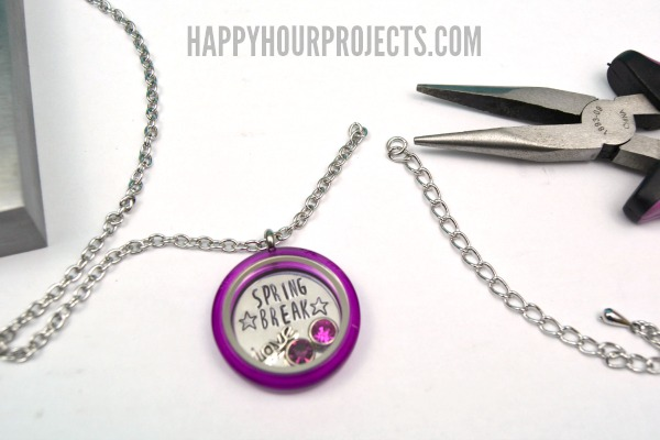 Spring Stamped Charm Lockets at www.happyhourprojects.com