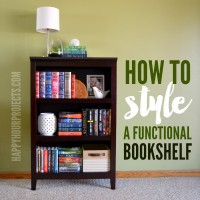 How to Style a Functional Bookshelf at www.happyhourprojects.com