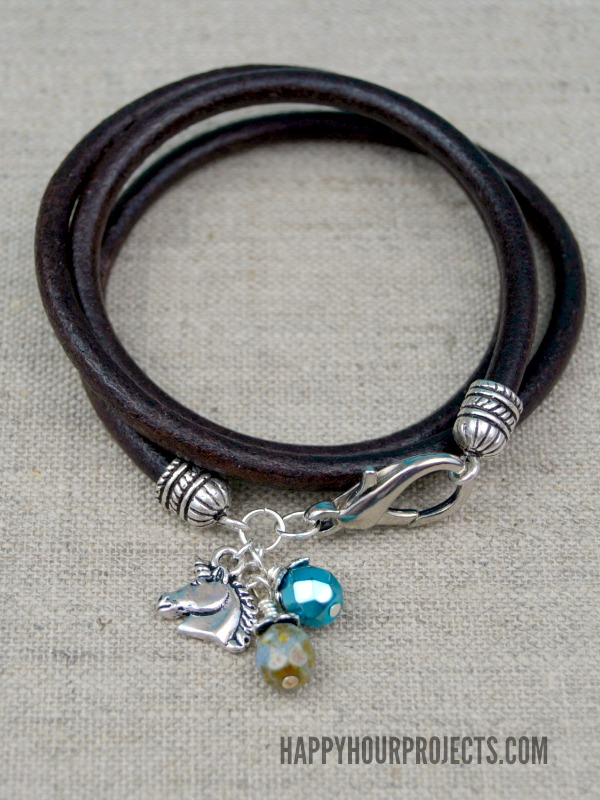 Leather Wrap Charm Bracelet Happy Hour Projects