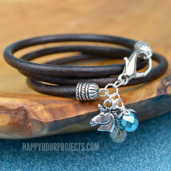 DIY Leather Wrap Charm Bracelet (With Unicorn!) at www.happyhourprojects.com