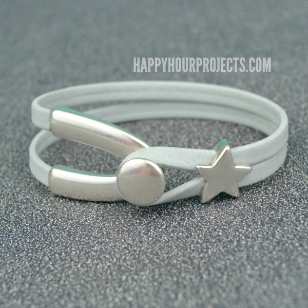 Wishbone Leather Bracelet at www.happyhourprojects.com
