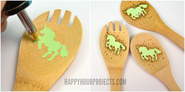 Wood Burned Unicorn Kitchen Utensils at www.happyhourprojects.com