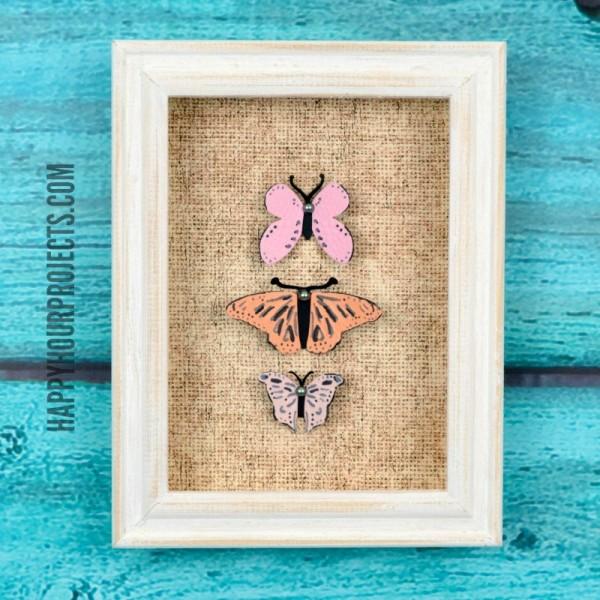 Paper Butterfly Specimen Art at www.happyhourprojects.com