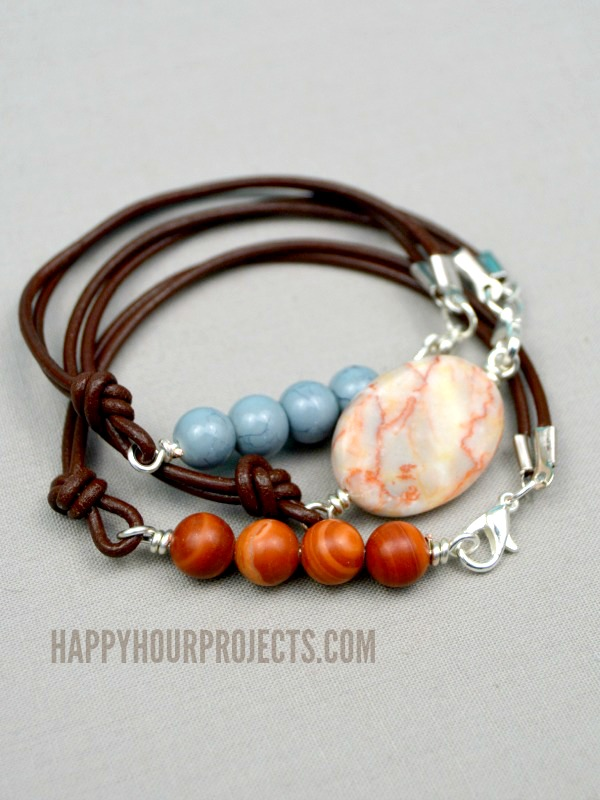 Side clasp leather and stone bead bracelets happy hour for How to make rock jewelry