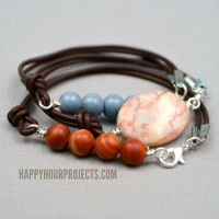 Side-Clasp Leather and Stone Bead Bracelets