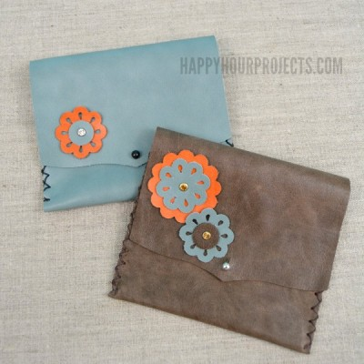 Floral Themed Beginner's Leather Wallet Tutorial at www.happyhourprojcts.com