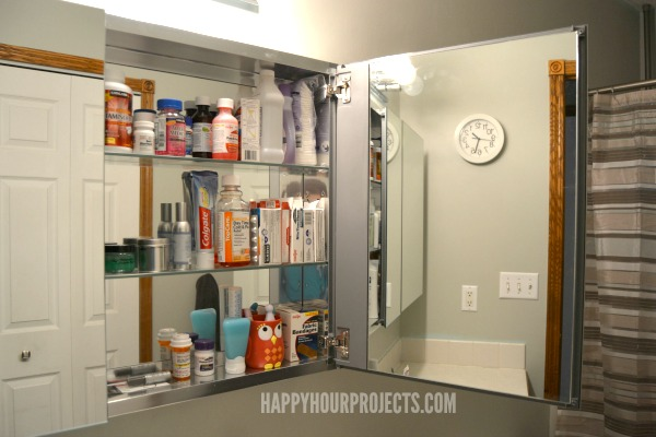 Bathroom Makeover Update at www.happyhourprojects.com | Paint and Medicine Cabinet Installation