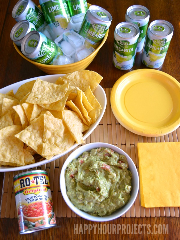 Cinco de Mayo Fiesta Made Easy with RO*TEL Rockin' Guac and Bud Light Lime-A-Ritas at www.happyhourprojects.com