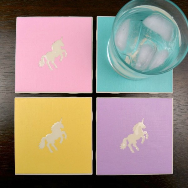 Unicorn Coasters at www.happyhourprojects.com