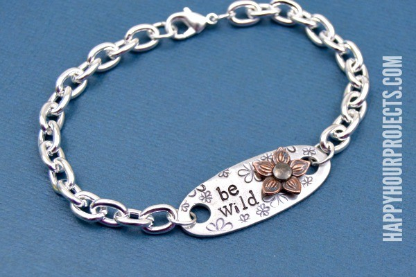 Be Wild Hand Stamped Wildflower Themed Bracelet at www.happyhourprojects.com