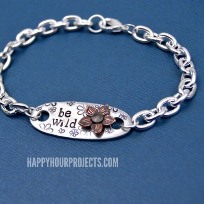 """Be Wild"" Wildflower Stamped Bracelet"