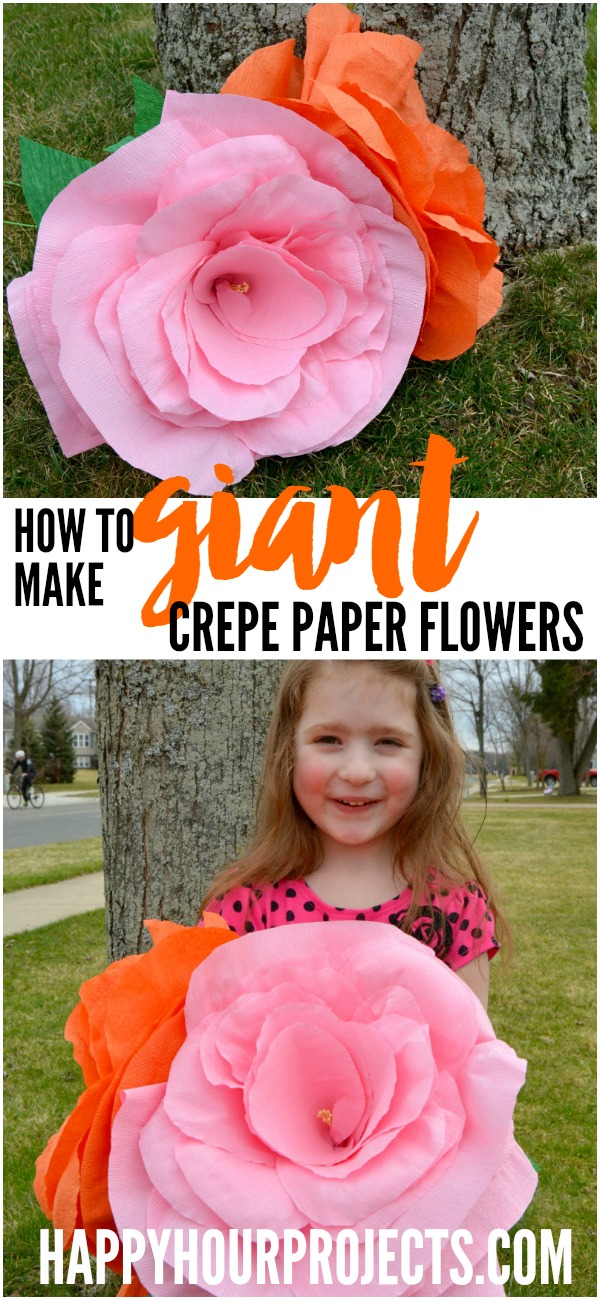 How to Make Giant Crepe Paper Flowers at www.happyhourprojects.com | An inexpensive project that's great for weddings, photo props, gifts and more!