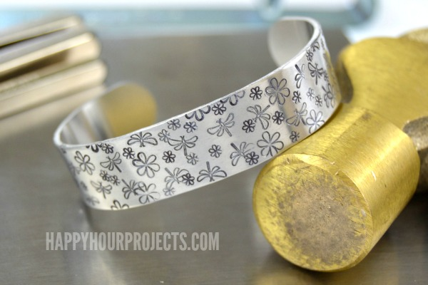 10-Minute Dragonfly-Themed Stamped Cuff Bracelet | Video Tutorial at www.happyhourprojects.com