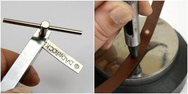 """""""Dad Rocks"""" Stamped & Riveted Leather Father's Day Keychain at www.happyhourprojects.com"""