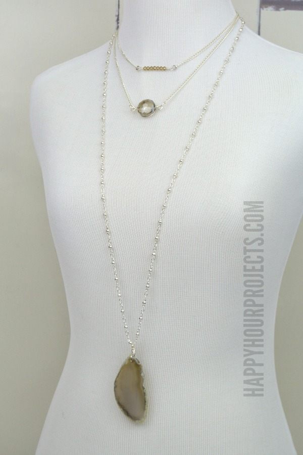 Bead and Stone Layering Necklaces at www.happyhourprojects.com | Make each necklace in 5 minutes or less, stack and layer together for one of this summer's hot trends!