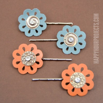 Floral Leather Hair Pins