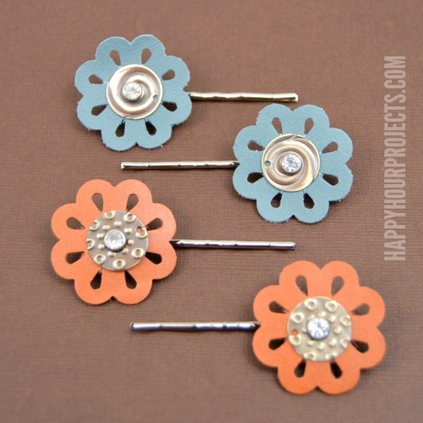 Floral Leather Hair Pins at www.happyhourprojects.com