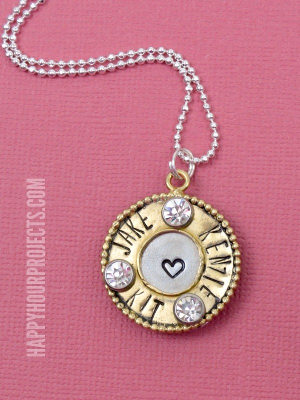 Mixed Media Hand Stamped Mommy Necklace and Floral Card at www.happyhourprojects.com