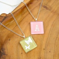 Glass Tile Necklaces with Scrapbook Paper at www.happyhourprojects.com
