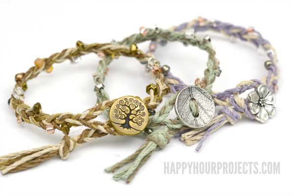 DIY Beaded Button-Clasp Hemp Bracelets | Easy braided DIY bracelets on the cheap at www.happyhourprojects.com