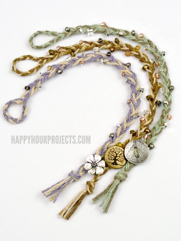 DIY Beaded Button-Clasp Hemp Bracelets | Easy braided DIY bracelets on