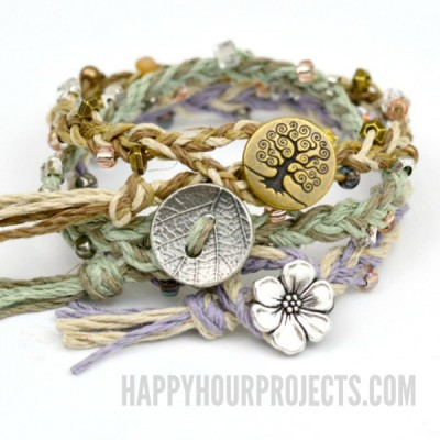 DIY Beaded Button-Clasp Hemp Bracelets