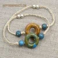 Easy Ceramic Bead & Hemp Connector Bracelets at www.happyhourprojects.com